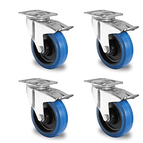 Rollensatz 4 Lenkrollen mit Feststeller 125 mm Elastik