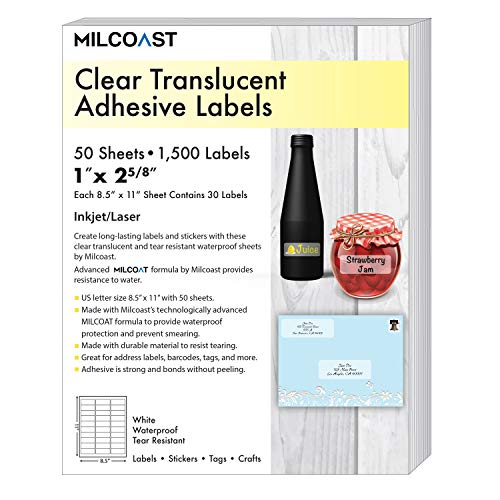 """Milcoast Glossy Clear Translucent Waterproof Tear Resistant Address Labels 1"""" x 2-5/8"""" - 50 Sheets"""