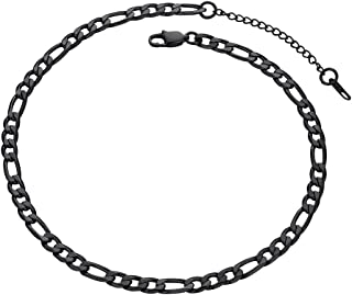 Figaro Men Necklace Chains 18K Gold Plated Stainless Steel/Black Neck Link Jewelry Gift, 4mm, 6mm, 9mm Width 18''- 30'' Sizes