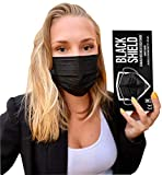 BLACK SHIELD - Mascherina Chirurgica Medicale Nera 3 veli - Certificata CE - Dispositivo Medico di Typo I - 50 Pezzi