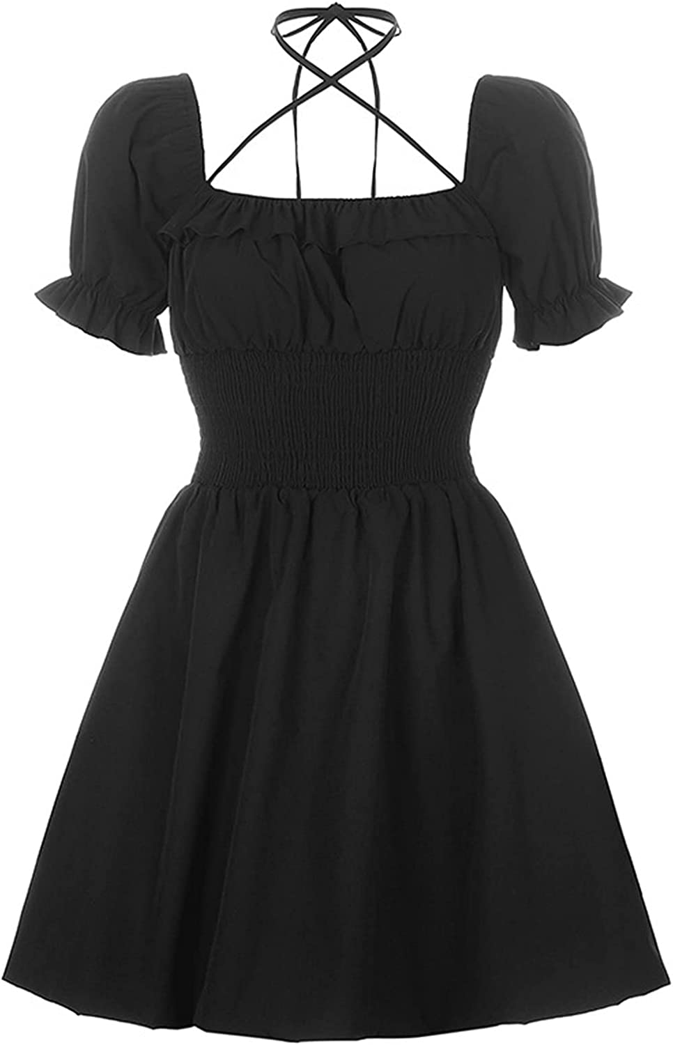 Yuncheng Womens Goth Lolita Dress Black Mini Dress Puff Sleeve A-line Cocktail Party Dress (Color : Black, Size : Small)