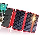 Banco de Energía Solar 20000mAh, Cargador Solar Portátil Cargador inalámbrico Qi, Salidas 5V 2.1A de Alta Velocidad y Entradas Duales Paquete de Baterías de Gran Capacidad para Teléfonos Inteligentes