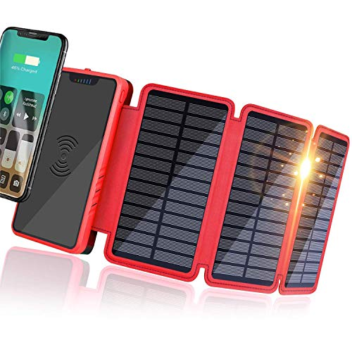 Banco de Energía Solar 20000mAh, Cargador Solar Portátil Cargador inalámbrico Qi, Salidas 5V 2.1A de Alta Velocidad y Entradas Duales Paquete de Baterías de Gran Capacidad para Teléfonos Intel