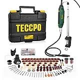 Mini Amoladora Eléctrica, TECCPO 200W Multiherramienta, 6 Velocidades Variables 40000 RPM Max, 120 Accesorios, con bastidor fijo, soporte extensible Mandril, Mandril de 3 garras Caja de almacenamiento