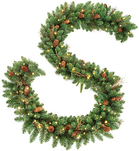 OasisCraft 9FT Christmas Garland with Pine Cones, Prelit Christmas Garland Greenery Outdoor Lighted Pine Garland, Mantle Garland Christmas Holiday Decoration Indoor