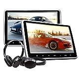 eonon C1100A 10.1 inch LCD Headrest Lecteur DVD Appui-tête Moniteur pour Voiture avec Digital Touch Button Port HDMI USB SD + IR Casque Combo (Twin Pack)