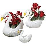 Classic Indoor/Outdoor White Swan Planters, Home Garden Décor, 3 Piece Set