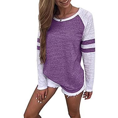 Yidarton Women's Color Block Long Sleeve T Shirt Casual Round Neck Tunic Tops(Purple,S)