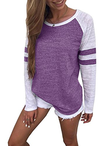 Generic Hiistandd Damen Langarmshirt Farbblock Langarm T-Shirt Casual Rundhals Tunika Tops (Medium, Lila)