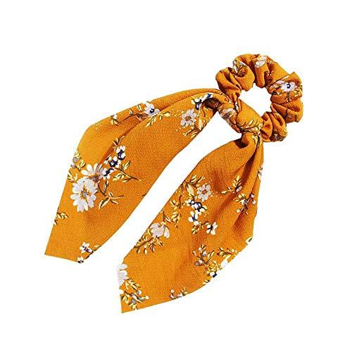 Qinlee Fleur Cheveux Chouchous Femmes Bandes Élastiques Foulards Queue de Cheval à Cheveux Bowknot pour Accessoires de Cheveux Décorations Jaune