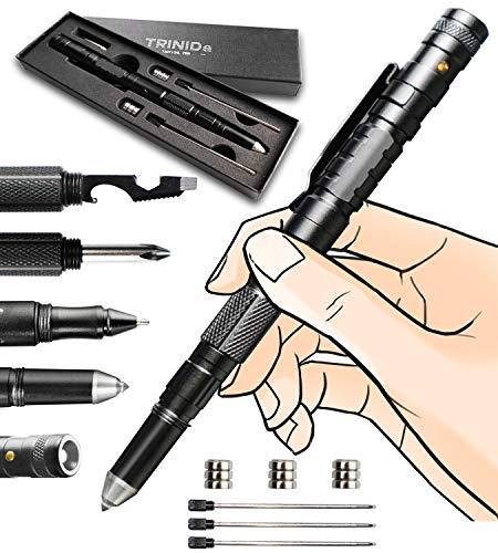 Tactical Pen, TRINIDa Cool Gadget for Men, Made of Tungsten Steel & Aircraft Grade Aluminum, Fun Gadget Mens Gifts Ideas With Gift Box