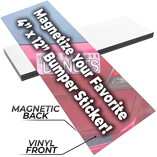 Fun Make-Your-Own 4x12in Magnetic Sheets 25pk. Blank White Magnet Strips for Strong Flexible Bumper Sticker Decals, Holiday Photos or Art. Decorate Personalized DIY Projects for Fridge, Car or Office