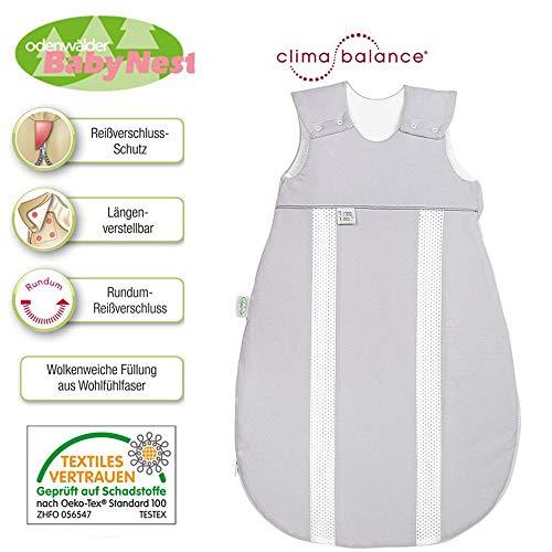 Odenwälder BabyNest Jersey-Schlafsack Primaklima 130 cm 3-6 Jahre, Light Silber, Idealer Allrounder mit innovativen ClimaBalance-Zonen