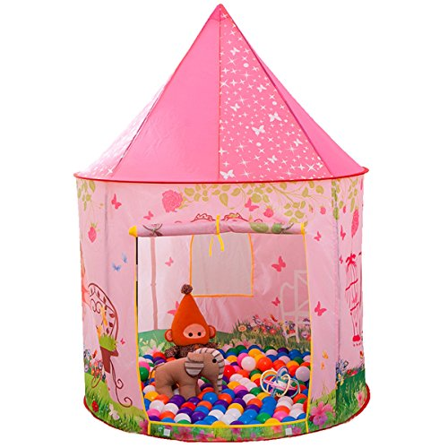 Anyshock Playhouse for Kids Tent, Princess Pink Castle Playhouse for 1-8 Year Old Children Toddlers Boys Girls Baby Infant Indoor Outdoor Gifts Toys (no Balls)