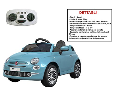 Mazzeo Giocattoli Auto elettrica per Bambini Fiat 500 Celeste