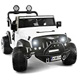 Two (2) Seater Ride On Kids Car Truck w/ Remote | Large 12V Battery Licensed Kid Car to Drive 3 Speeds, Leather Seat, MP3 Music by Bluetooth, FM Radio, Rubber Tires - White