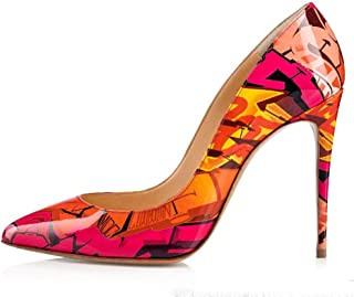 Sandals Pumps for Women Pointed Toe Shallow Mouth 10cm or 11.5cm Stiletto Printing Pattern Solid Color Patent LIULICUICAN (Color : Red, Size : 36 EU)