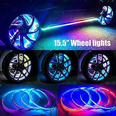 "15.5"" Set 4 Dancing/Chasing Flow illuminated LED Wheel Rings Lights for Truck All JEEP Offroad BLUETOOTH Controller"