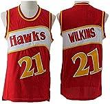 XIAOHAI Hombres Jerseys, Atlanta Hawks # 21 Dominique Wilkins Transpirable Resistente al Desgaste Malla Bordado Baloncesto del Swingman de los Jerseys,Rojo,S