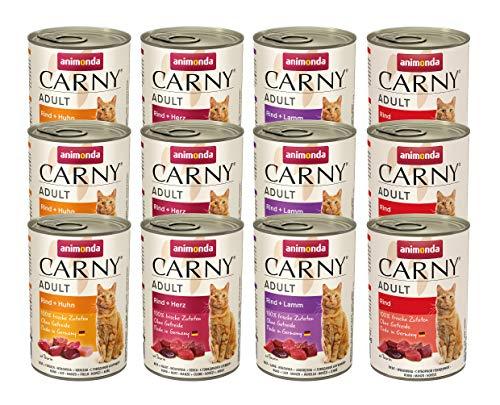 animonda Carny Adult Katzenfutter, Nassfutter für ausgewachsene Katzen, Mix 1, 12 x 400 g