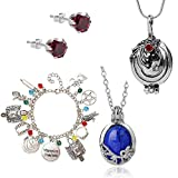 XHBTS 5 Set Replace The Vampire Diaries Daywalking Katherine Sapphire Crystal Pendant Necklaces Elena Verbena Opening Charm Necklace Bracelet Movie Jewelry Set Cosplay For Fans