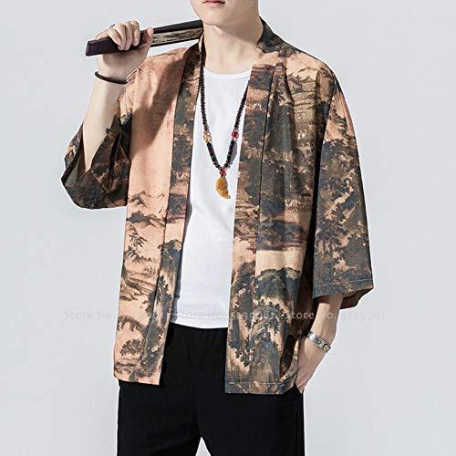Coner Men Estilo japonés Harajuku Tops Albornoces Kimono Yukata Estampado Tradicional Chino Hanfu Tang Cardigan Kung Fu Abrigos, 5, L