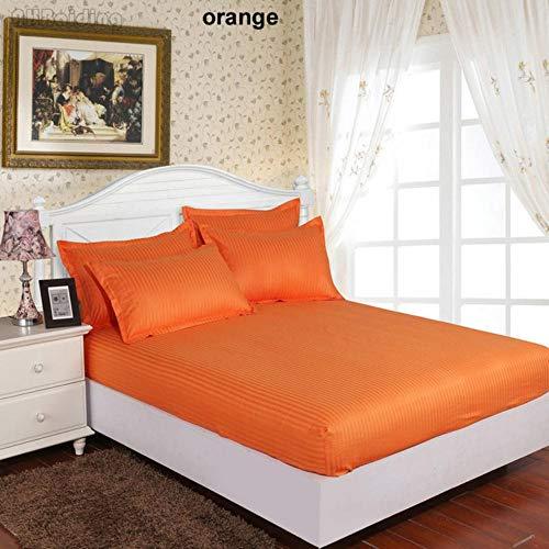 PENVEAT Pure White 60er Jahre Streifen Hotel Spannbetttuch Hochwertige 100prozent Satin Baumwolle Bettlaken Twin Full Queenk King Bettwäsche Tagesdecken, orange, 120x200cm 25cm tief