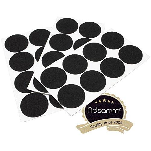Adsamm | 24 x almohadillas de fieltro | Ø 60 mm | negro | redondo | Protectores de suelo para patas de mueble | auto-adhesivos | con grosor de 3,5 mm de la máxima calidad