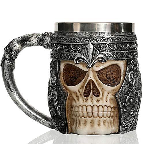 Taza de acero inoxidable 3D con diseño de calavera vintage de resina y acero inoxidable, estilo gótico de horror para decoración del hogar, regalos de inauguración de la casa, taza de café, cerveza y