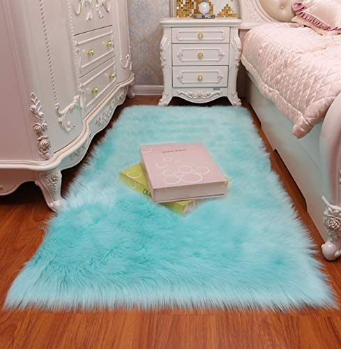 Faux Fur Sheepskin Rug,Machine Washable, Makes a Soft, Stylish Home Décor Accent for a Kid's Room, Bedroom, Nursery, Living Room or Bath,Light Blue,2'X3'