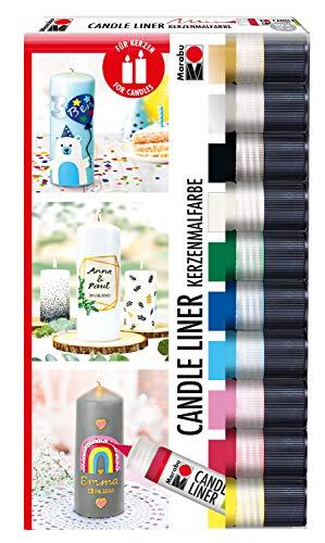 Marabu 1805000009882 - Candle Liner Set, 10 Kerzenpens á 25 ml, cremig, weiche Wachsmalfarbe, auf Wasserbasis, lichtecht, geruchsneutral, wetterfest, kinderleichte Kerzendeko