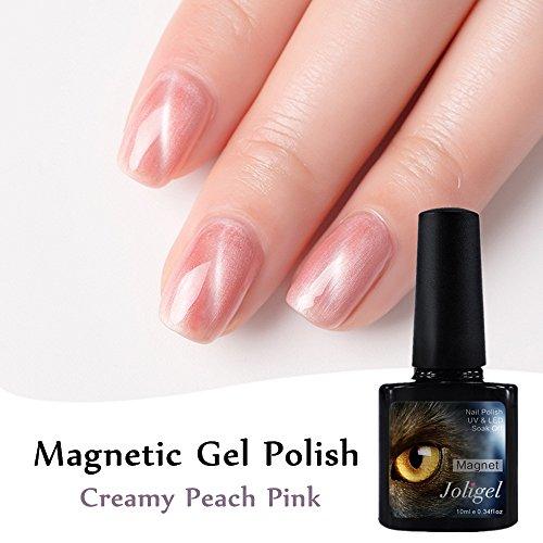 Joligel Magnetischer Gel-Nagellack 3D Cat Eye Shellac für Nägel, Maniküre, Pediküre, Nagelkunst, UV-LED, Soak-Off, gratis Magnet, 10 ml (Creamy Purple Pink)