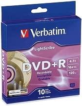 Verbatim Light Scribe DVD+R Discs, 4.7GB, 16x, Spindle, Gold, 10/Pack 95116
