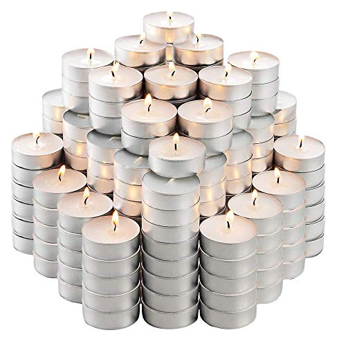 MontoPack Unscented Tea Lights Candles in Bulk | 200 White, Smokeless, Dripless & Long Lasting Paraffin Tea Candles | Small Votive Mini Tealight Candles for Home, Pool, Shabbat, Weddings & Emergencies