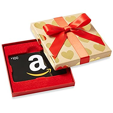 Amazon.com $100 Gift Card in a Gold Hearts Box