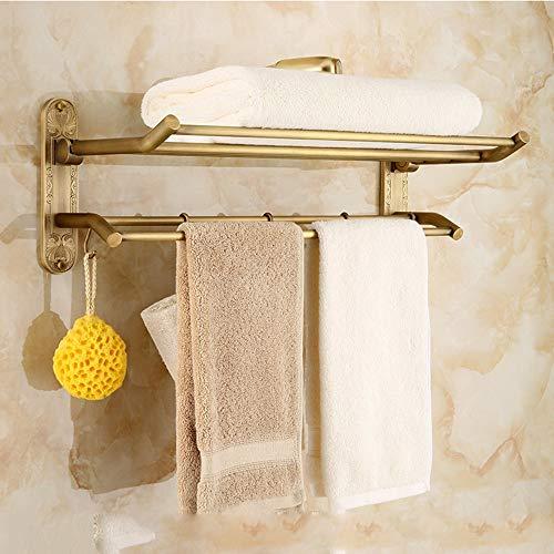 L.W.S Bathroom Rack Rack de baño Herramientas de baño Colgante de Hardware Conjunto de Toallas Toalla Antigua Toalla Rack Europeo Retro Baño Plegable Estante