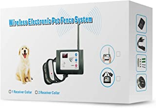 Wireless Dog Fence System - Rechargeable & Waterproof Beep+Shock Collar - 100% Safe & Easy to Install Electric Wireless Pet Fence - Large Coverage Area Wireless Containment for Dogs (1 Dog System)