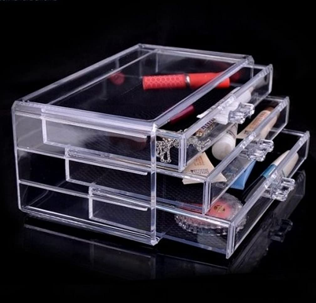 Luxury Acrylic Cosmetic Organizer Makeup Box 3 Drawers 1005-1***