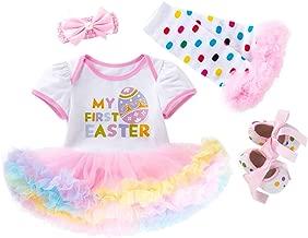Fairy Baby Newborn Baby Girl Easter Dress Cotton 3/4pcs My 1st Easter Outfit Bunny Eggs Romper Bodysuit Tutu Skirt Set