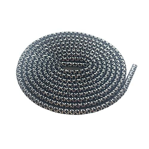 El cordón de Plata Negros de Oro Hilos metálicos Redondos Cordones Cuerdas para Hombres y Mujeres, 623 Negro Plata, 140cm