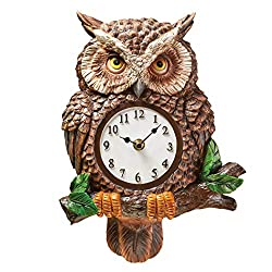 Collections Etc Hand Painted Resin Owl Analog Wall Clock | Hand Painted | Realistic Features | Easy to Read Numbers | Hook on Back for Easy Hanging | Resin| Batteries Sold Separately