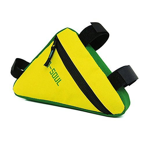 VafePd - Bolsa portaequipajes de bicicleta para tubo delantero, 19 x 18 x 3,5 cm, impermeable, bolsa de almacenamiento, amarillo verdoso, talla única