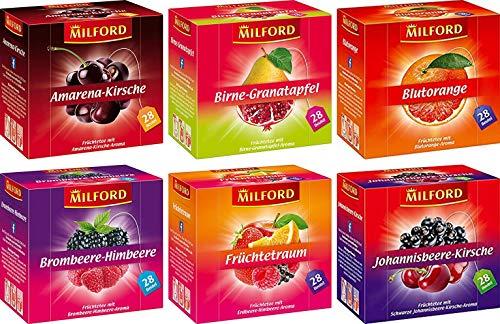 Milford Früchtevielfalt | Set 07 | 6 verschiedene Sorten | Amarena-Kirsche | Birne-Granatapfel | Blutorange | Brombeere-Himbeere | Früchtetraum | Johannisbeere-Kirsche | Tee | Aufgussbeutel