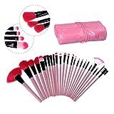 24 piezas de objetivo fotográfico juego de accesorios de maquillaje de juego de cepillos para aroma de polvos de talco cepillo de limpieza Con bolsa de cosmeticos