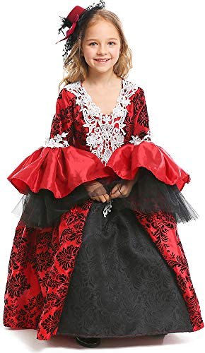 MOMBEBE COSLAND Disfraz de Vampiro para Niñas Vestido de Manga Larga