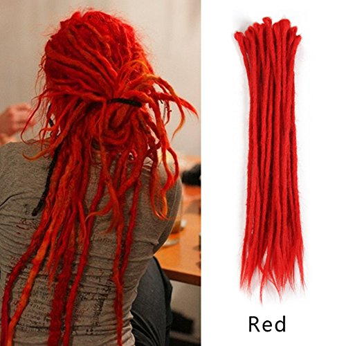 AOSOME 20inch Pack of 20 Red Dreadlocks Extensions Synthetic dread Crochet Hair Reggae Hair Locs
