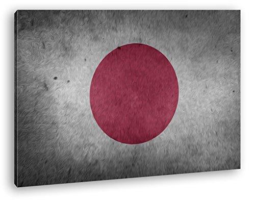 deyoli Japanische Flagge Effekt: Zeichnung Format: 60x40 als Leinwandbild, Motiv fertig gerahmt auf Echtholzrahmen, Hochwertiger Digitaldruck mit Rahmen, Kein Poster oder Plakat