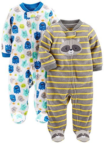 Simple Joys by Carter's Baby Boys' 2-Pack Fleece Footed Sleep and Play, Monsters/Raccoon, 3-6 Months