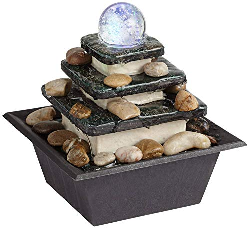 John Timberland Zen Tabletop Water Fountain with LED Light Rolling Ball 3-Tier for Indoor Table Desk