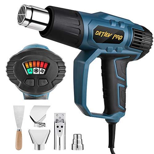 Pistola de Aire Caliente, DETLEV PRO 2000W 230V Temperaturas Ajustable 50-600 Grados con Pantalla LED con 4 Boquillas 1 Raspador